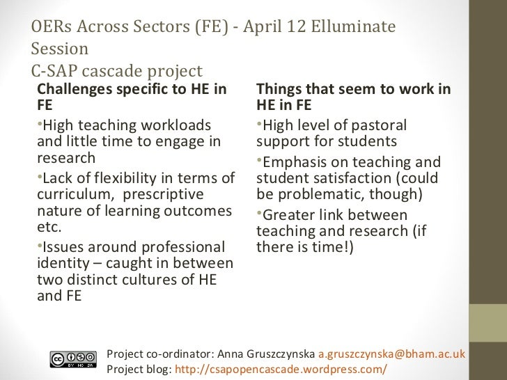 OERs Across Sectors (FE) - April 12 Elluminate Session C-SAP cascade project <ul><li>Challenges specific to HE in FE </li>...