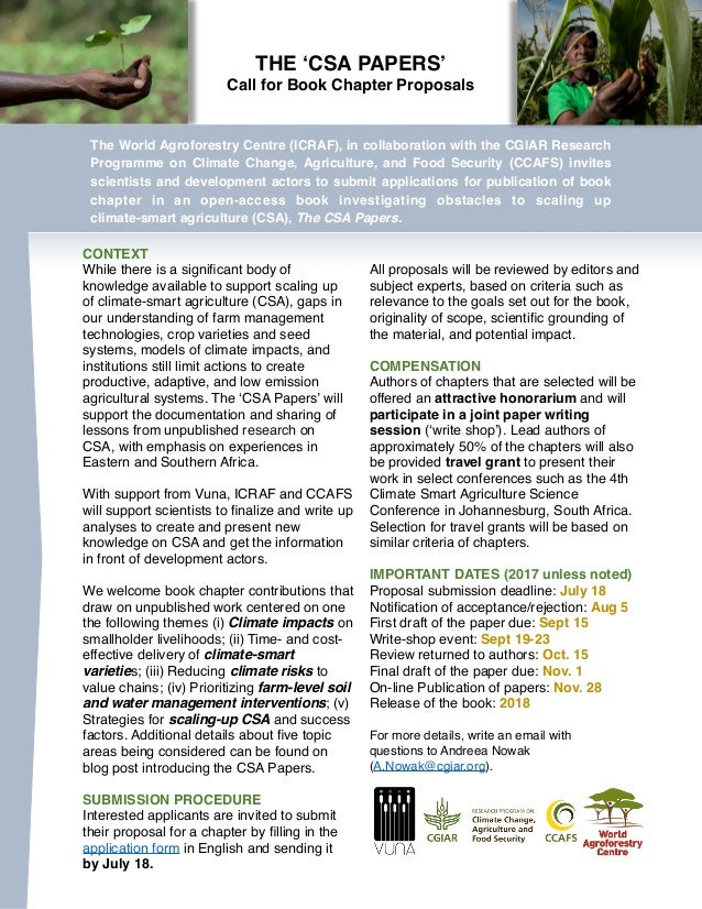 THE 'CSA PAPERS' Call for Book Chapter Proposals The World Agroforestry Centre (ICRAF), in collaboration with the CGIAR Re...