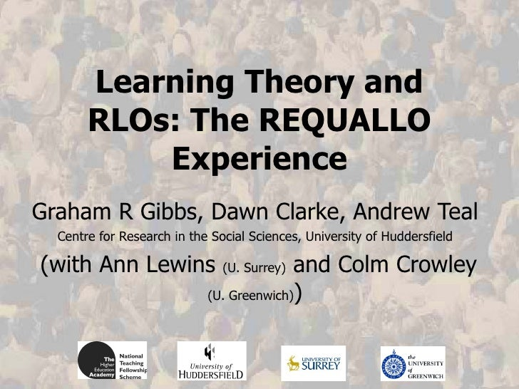 Learning Theory and RLOs: The REQUALLO Experience Graham R Gibbs, Dawn Clarke, Andrew Teal Centre for Research in the Soci...