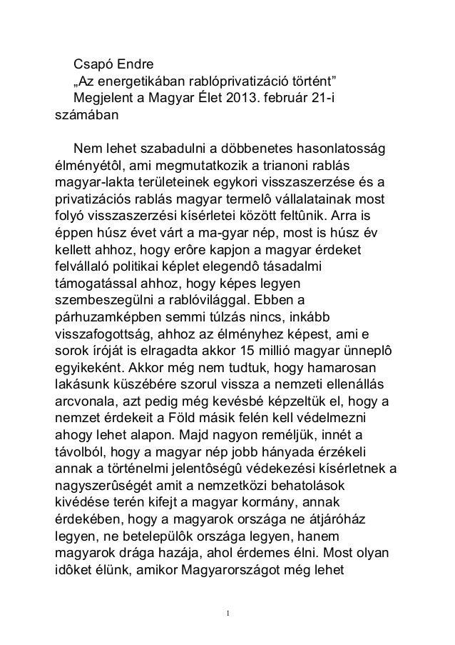 """Csapó Endre   """"Az energetikában rablóprivatizáció történt""""   Megjelent a Magyar Élet 2013. február 21-iszámában    Nem leh..."""