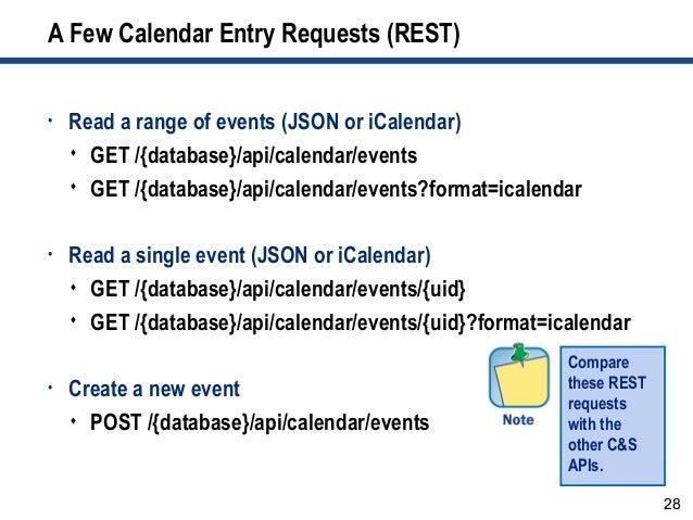 28 A Few Calendar Entry Requests (REST) • Read a range of events (JSON or iCalendar)  GET /{database}/api/calendar/events...