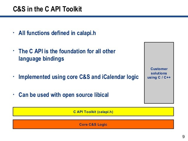 9 C&S in the C API Toolkit • All functions defined in calapi.h • The C API is the foundation for all other language bindin...