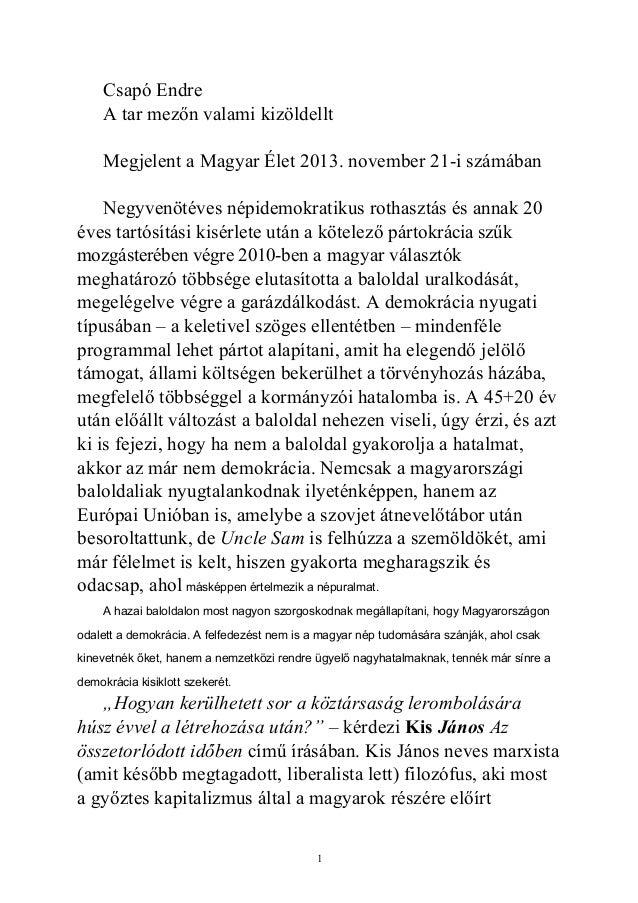 Csapó Endre A tar mezőn valami kizöldellt Megjelent a Magyar Élet 2013. november 21-i számában Negyvenötéves népidemokrati...