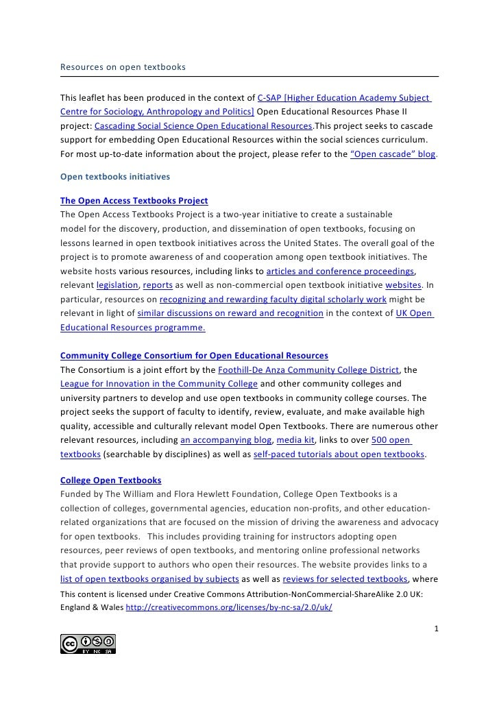 Resources on open textbooksThis leaflet has been produced in the context of C-SAP [Higher Education Academy SubjectCentre ...