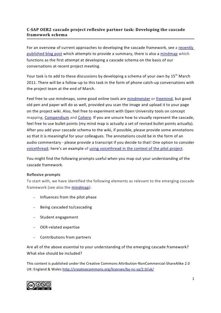 C-SAP OER2 cascade project reflexive partner task: Developing the cascadeframework schemaFor an overview of current approa...