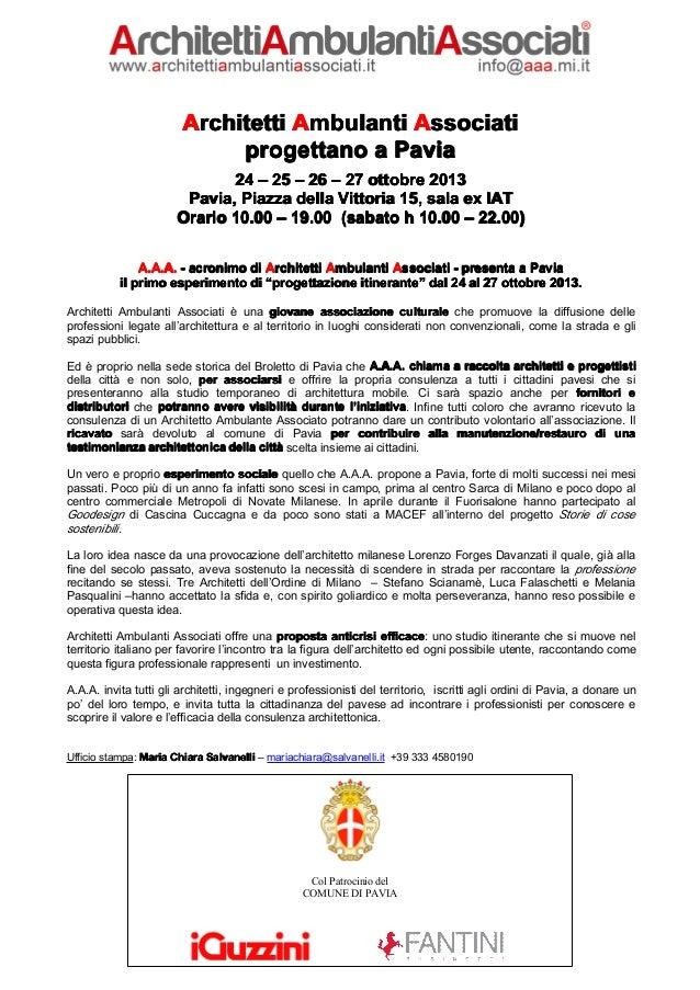 Architetti Ambulanti Associati (A.A.A.) a Pavia dal 24 al 27 ottobre