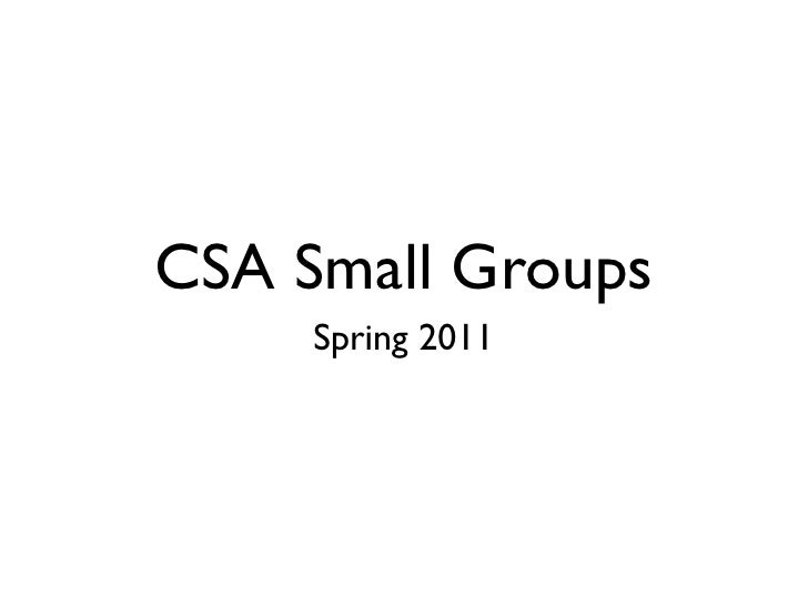 CSA Small Groups     Spring 2011