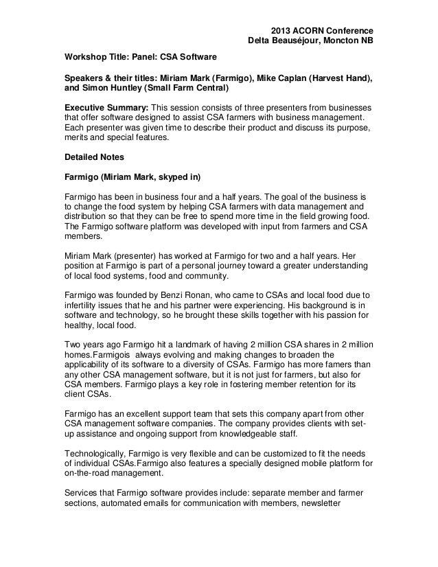 2013 ACORN Conference Delta Beauséjour, Moncton NB Workshop Title: Panel: CSA Software Speakers & their titles: Miriam Mar...