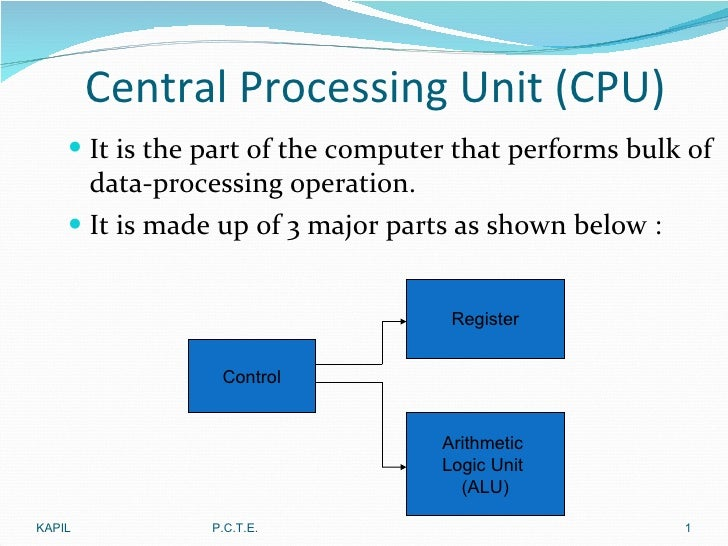 Central Processing Unit (CPU) <ul><li>It is the part of the computer that performs bulk of data-processing operation. </li...