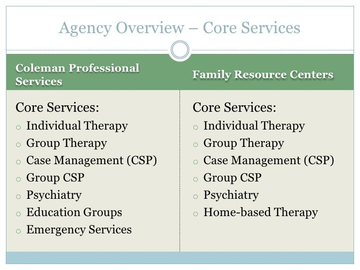 Agency Overview – Core ServicesColeman Professional                          Family Resource CentersServicesCore Services:...