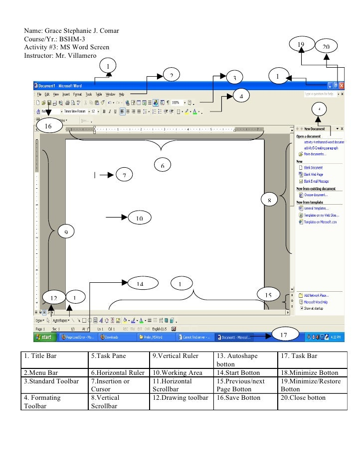 Name: Grace Stephanie J. Comar Course/Yr.: BSHM-3 Activity #3: MS Word Screen                                             ...