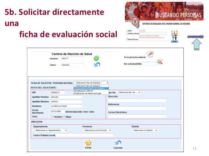 5b. Solicitar directamente una    ficha de evaluación social