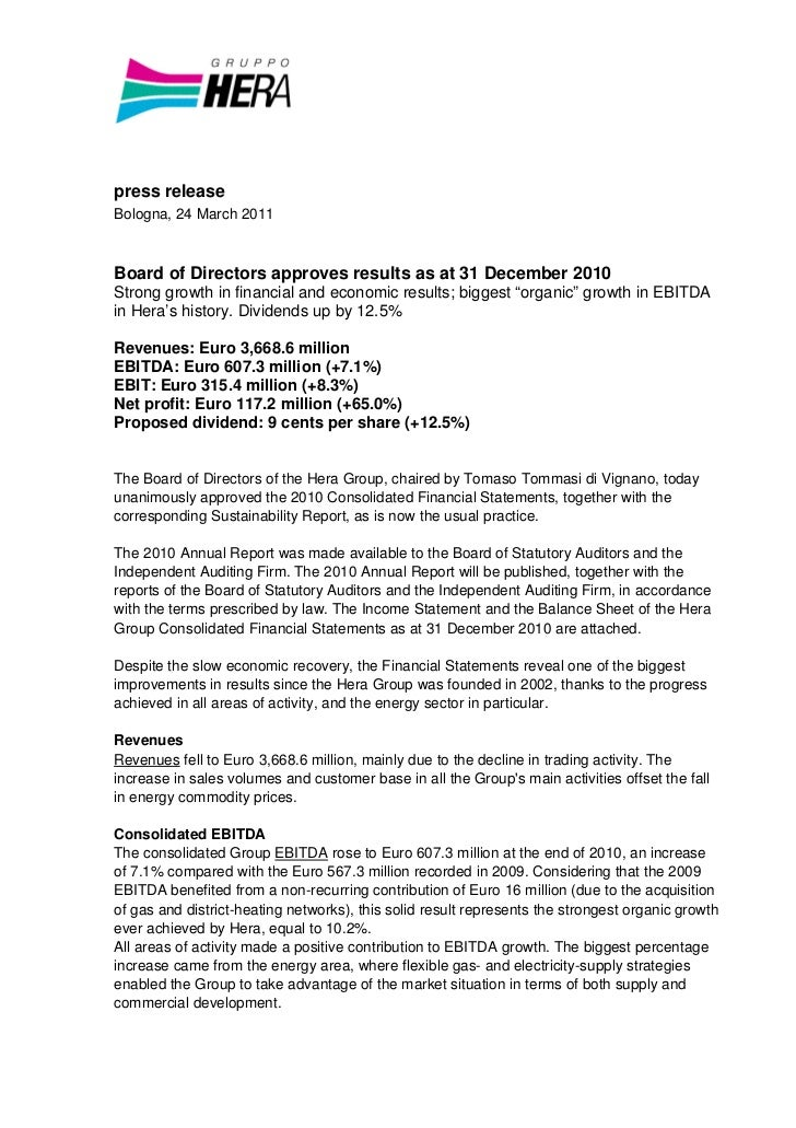 press releaseBologna, 24 March 2011Board of Directors approves results as at 31 December 2010Strong growth in financial an...
