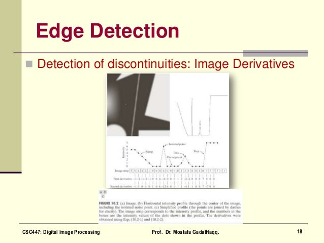 Edge Detection  Detection of discontinuities: Image Derivatives 18CSC447: Digital Image Processing Prof. Dr. Mostafa Gada...