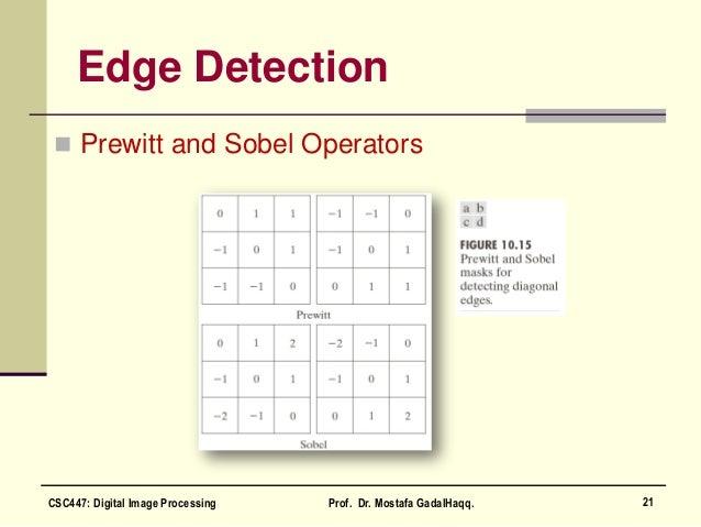 Edge Detection  Prewitt and Sobel Operators 21CSC447: Digital Image Processing Prof. Dr. Mostafa GadalHaqq.