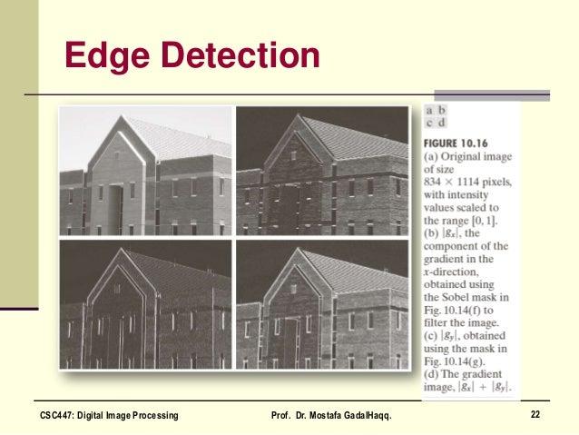 Edge Detection 22CSC447: Digital Image Processing Prof. Dr. Mostafa GadalHaqq.