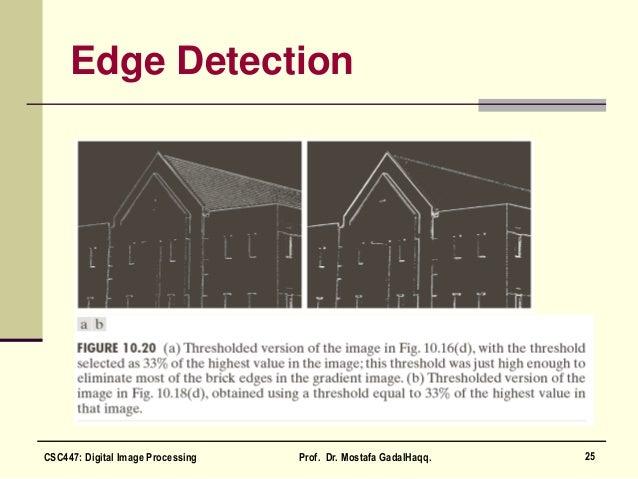 Edge Detection 25CSC447: Digital Image Processing Prof. Dr. Mostafa GadalHaqq.