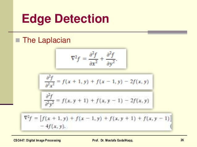 Edge Detection  The Laplacian 26CSC447: Digital Image Processing Prof. Dr. Mostafa GadalHaqq.