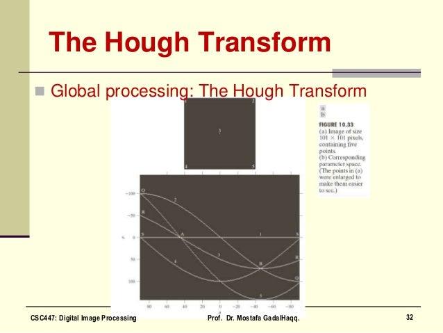 The Hough Transform  Global processing: The Hough Transform 32CSC447: Digital Image Processing Prof. Dr. Mostafa GadalHaq...