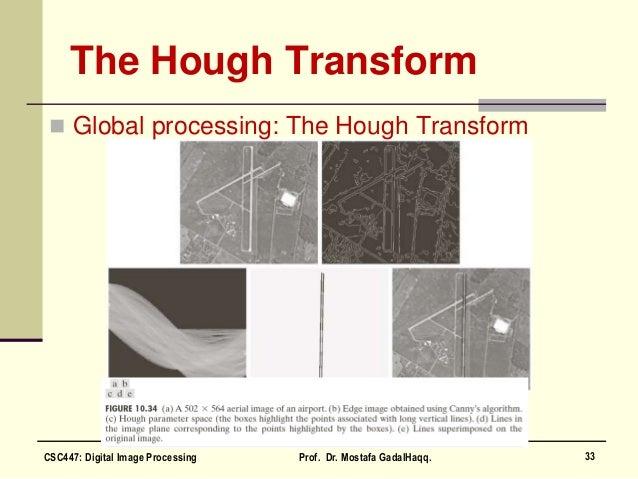 The Hough Transform  Global processing: The Hough Transform 33CSC447: Digital Image Processing Prof. Dr. Mostafa GadalHaq...