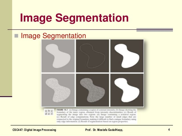 Image Segmentation  Image Segmentation 4CSC447: Digital Image Processing Prof. Dr. Mostafa GadalHaqq.