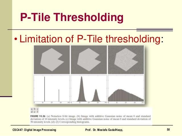 P-Tile Thresholding • Limitation of P-Tile thresholding: 50CSC447: Digital Image Processing Prof. Dr. Mostafa GadalHaqq.