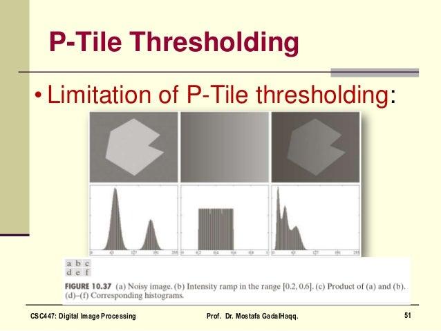 P-Tile Thresholding • Limitation of P-Tile thresholding: 51CSC447: Digital Image Processing Prof. Dr. Mostafa GadalHaqq.