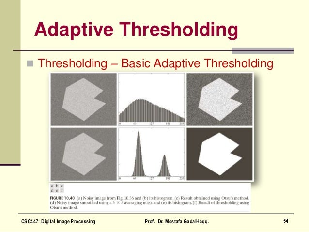 Adaptive Thresholding  Thresholding – Basic Adaptive Thresholding 54CSC447: Digital Image Processing Prof. Dr. Mostafa Ga...