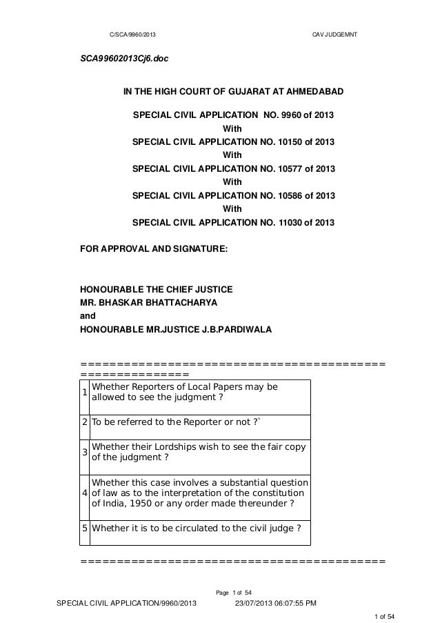 C/SCA/9960/2013 CAV JUDGEMNT SCA99602013Cj6.doc IN THE HIGH COURT OF GUJARAT AT AHMEDABAD SPECIAL CIVIL APPLICATION NO. 99...