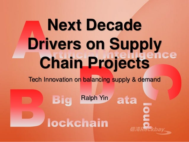 Next Decade Drivers on Supply Chain Projects Tech Innovation on balancing supply & demand Ralph Yin