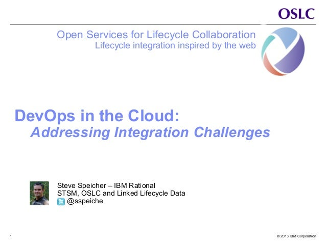© 2013 IBM Corporation1 DevOps in the Cloud: Addressing Integration Challenges Open Services for Lifecycle Collaboration L...