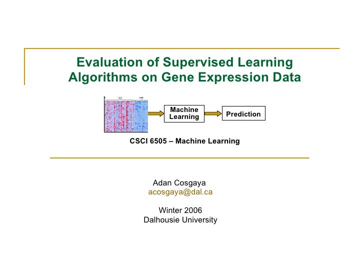 Evaluation of Supervised Learning Algorithms on Gene Expression Data CSCI 6505 – Machine Learning Adan Cosgaya  [email_add...