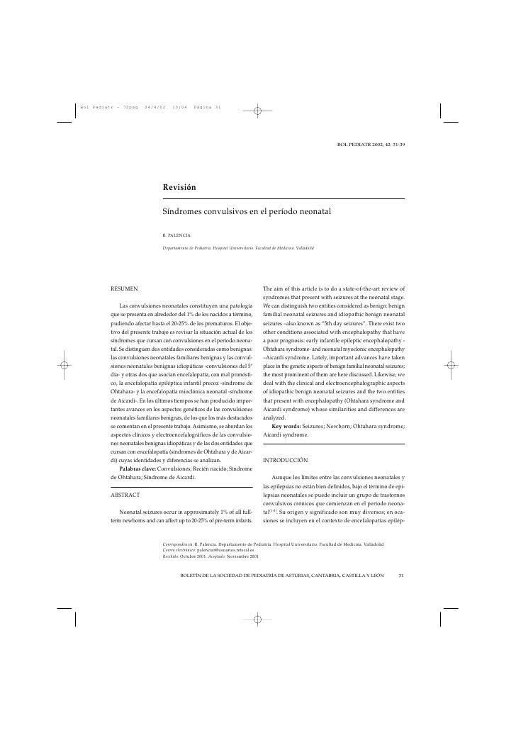 BOL PEDIATR 2002; 42: 31-39                            Revisión                         Síndromes convulsivos en el períod...