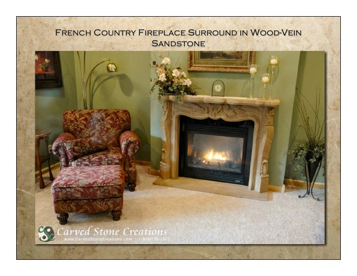 French Country Fireplace Surround in Wood-Vein                   Sandstone