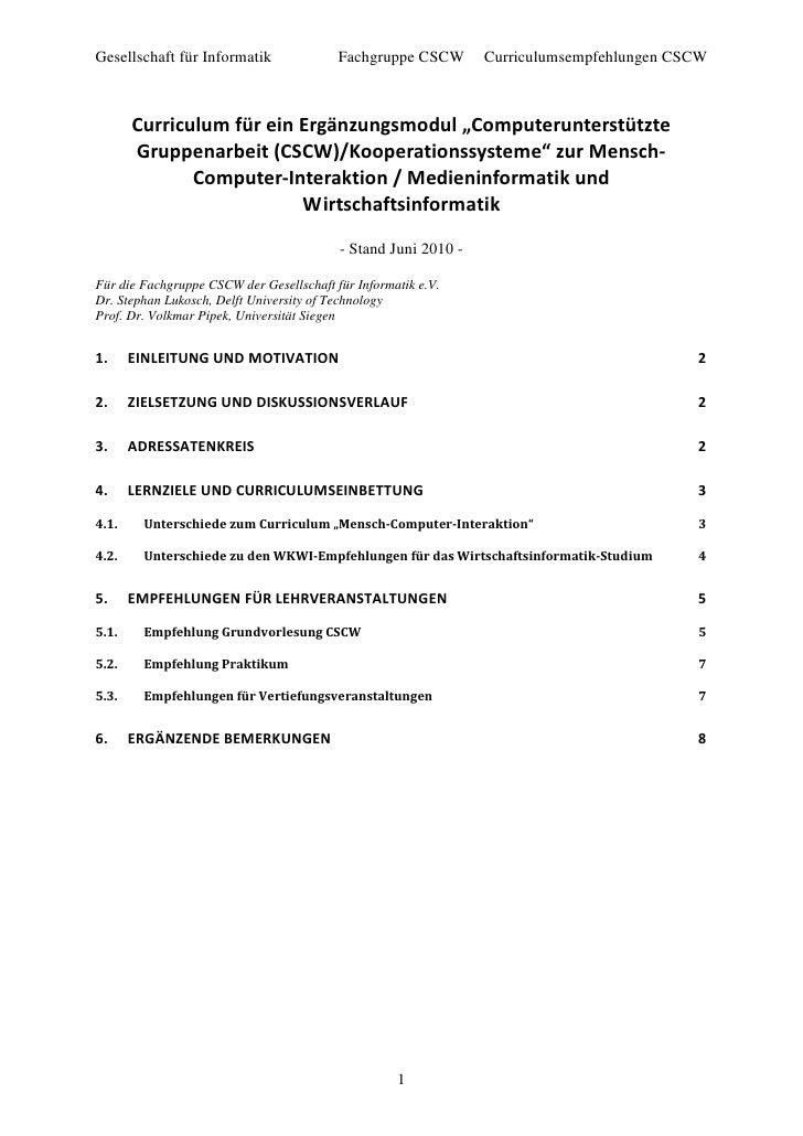 Gesellschaft für Informatik               Fachgruppe CSCW       Curriculumsempfehlungen CSCW           Curriculum für ein ...