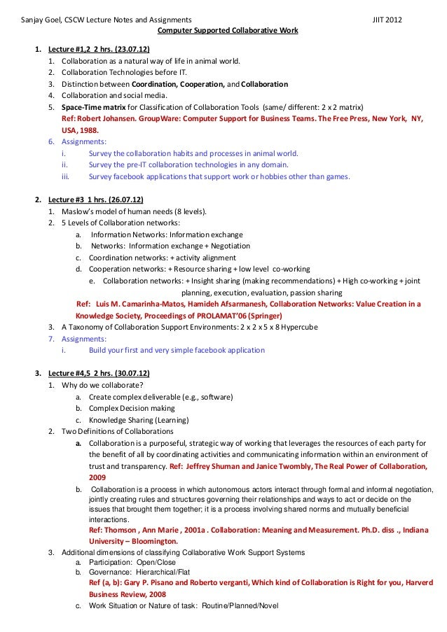 Sanjay Goel, CSCW Lecture Notes and Assignments                                                            JIIT 2012      ...
