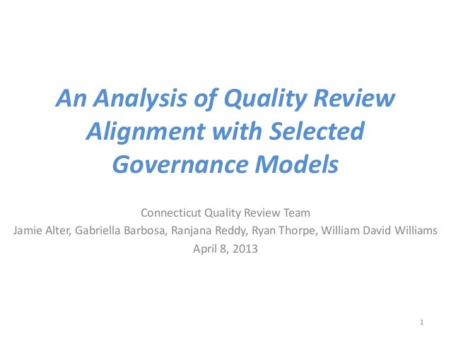 An Analysis of Quality Review          Alignment with Selected            Governance Models                          Conne...
