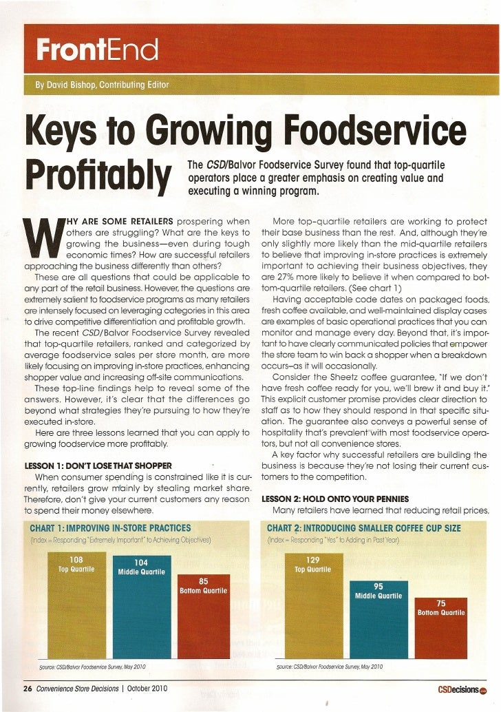 FrontEnd    By David Bishop, Contributing Editor     Keys to Growing Foodservice Profitably                               ...