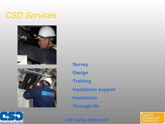 CSD Sealing Systems LtdCSD ServicesSurveyDesignTrainingInstallation supportInstallationThrough life