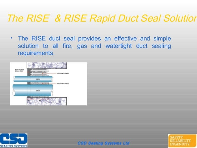 CSD Sealing Systems LtdThe RISE & RISE Rapid Duct Seal Solution The RISE duct seal provides an effective and simplesoluti...