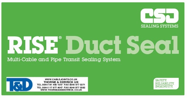 Duct Seal  Multi-Cable and Pipe Transit Sealing System  CSD Sealing Systems Unit 6, Easter Park, Nelson Park West, Cramlin...