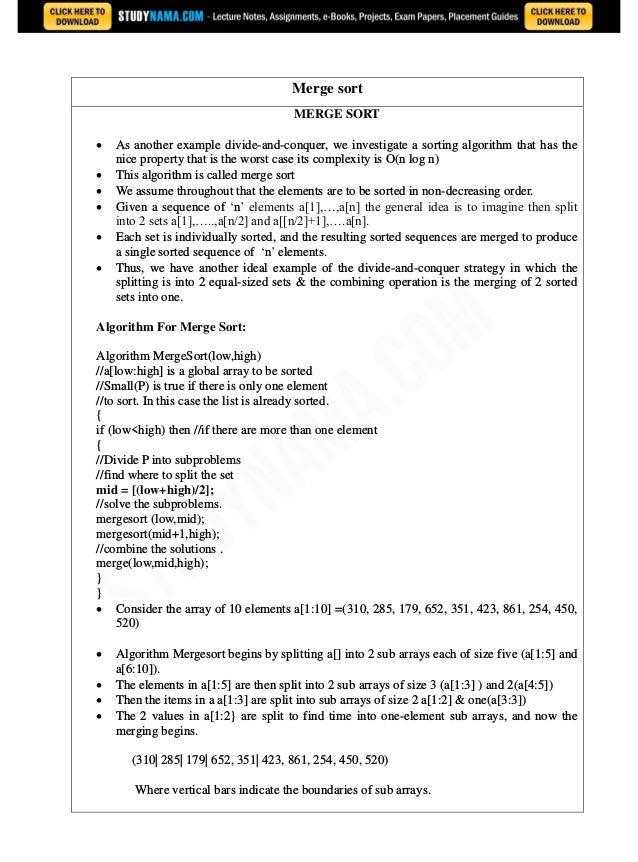 Cse second-year-daa notes, books, e book pdf download