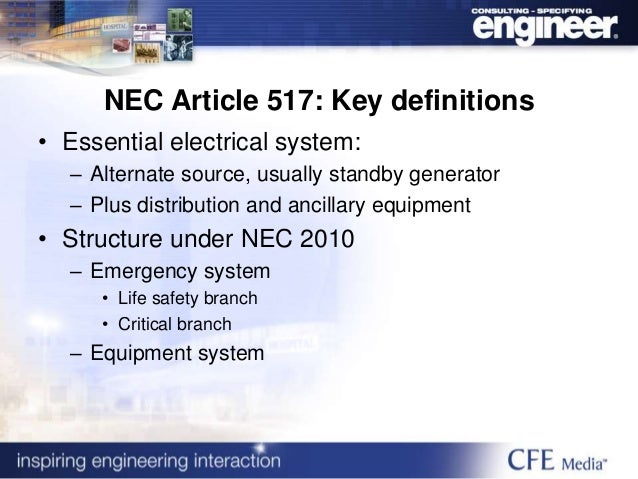 standard for electrical power system As a source of power, electricity is accepted without much thought to the of safety in use of electrical equipment and systems osha's electrical standards were carefully developed to cover only those parts of any electrical system that an employee would normally use or contact.