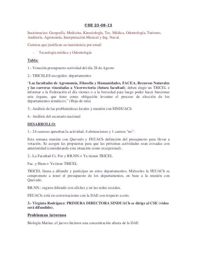 CSE 23-08-13 Inasistencias: Geografía, Medicina, Kinesiología, Tec. Médica, Odontología, Turismo, Auditoría, Agronomía, In...