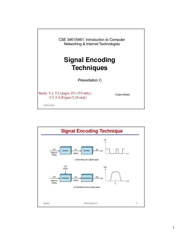 CSE 3461/5461: Introduction to Computer Networking & Internet Technologies  Signal Encoding Techniques Presentation C  Stu...