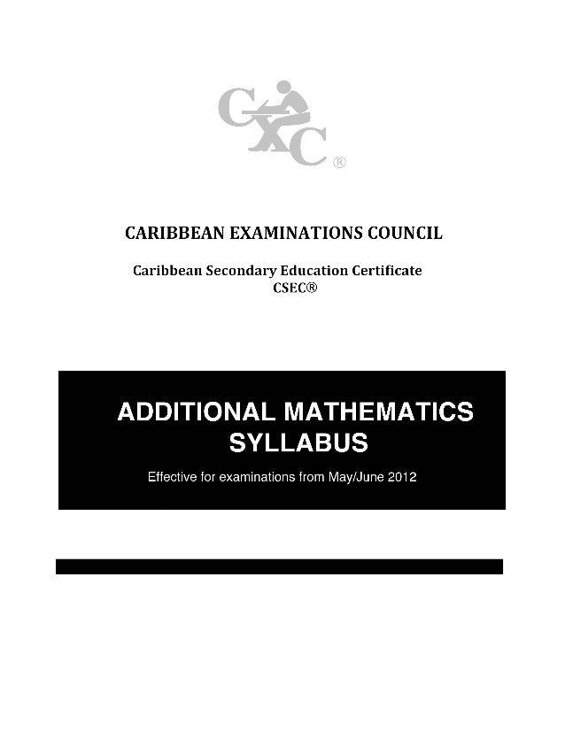 Csec additional mathematics syllabus