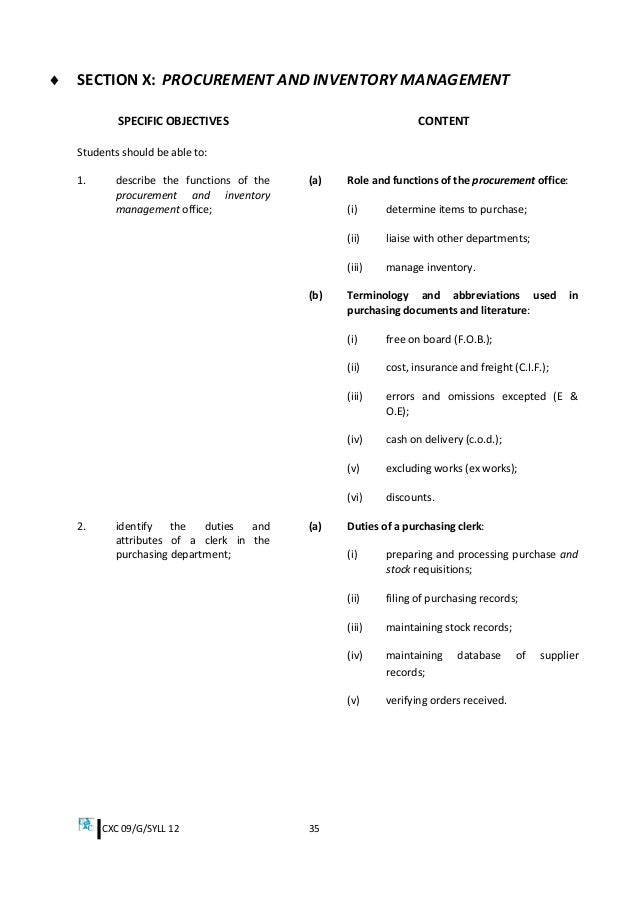 Csec office administration syllabus cxc fandeluxe Image collections
