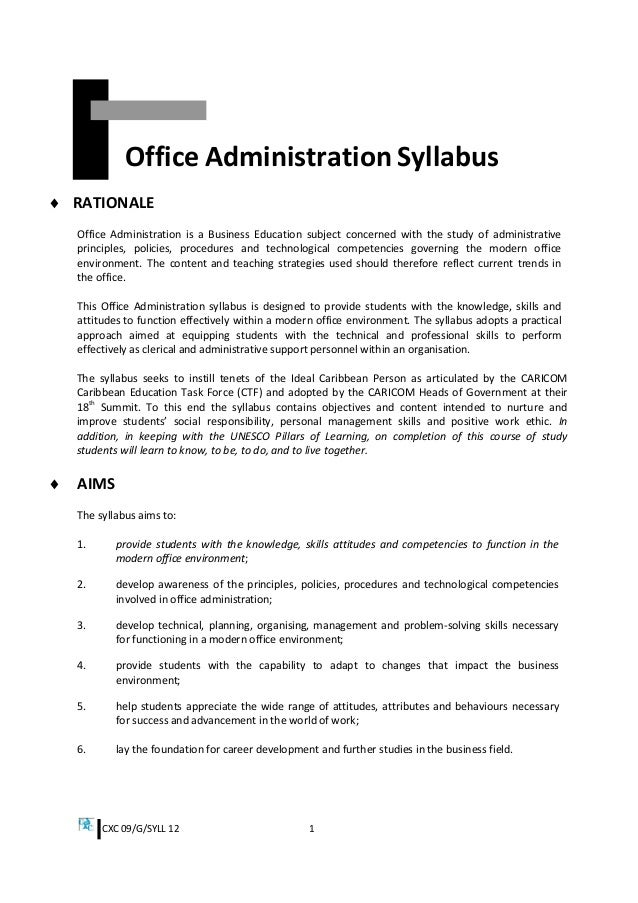 Csec office administration syllabus cxc fandeluxe Choice Image