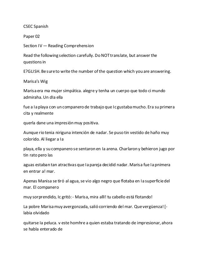 CXC CSEC Spanish Paper 2 Section Iv Prehension