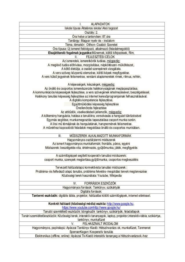 I.       ALAPADATOK                                   Iskola típusa Általános iskola/ Alsó tagozat                        ...